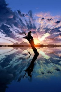 Una silueta suspendida y reflejada su sombra